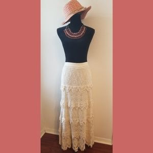 Cristina Ivory Crochet Tiered Maxi Skirt Medium